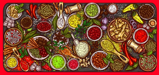 vector illustration variety spices herbs wooden background 1441 465
